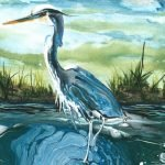 """Gina Dell """"Blue Heron 12x16"""" - The Palette & The Page"""