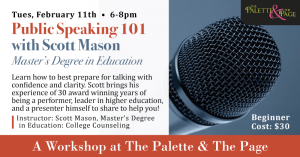 Workshop: Public Speaking 101 - The Palette & The Page - Elkton, MD